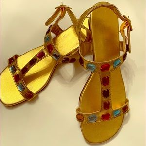Jeweled Sandals Size 7M NWOT Gold Color
